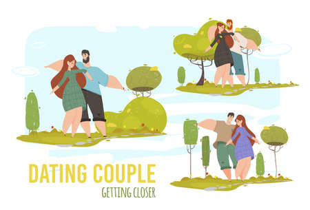 Man and Woman Romantic Relations, Love. Young Loving Couple Dating Getting Closer in City Park at Summertime Vacation. Outdoors Summer Spare Time, Leisure Meeting. Cartoon Flat Vector Illustration Illusztráció
