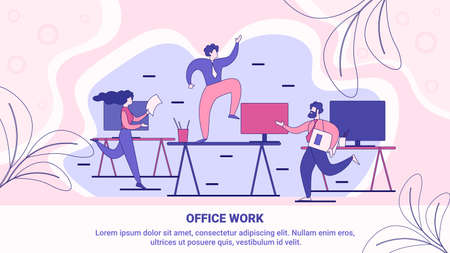 Effective Time Management in Office Work Flat Vector Banner, Poster Template with Busy Company Employees, Office Workers, Businesspeople Hurrying in Business, Running with Documents Illustration