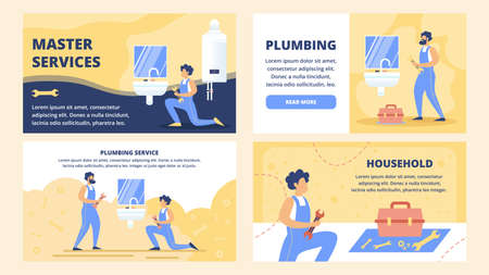 Professional Plumbing Service, House Repair Company Flat Vector Web Banners, Landing Pages Templates Set with Plumbers with Wrench, Maintaining, Installing or Repairing Faucet in Bathroom Illustration Çizim