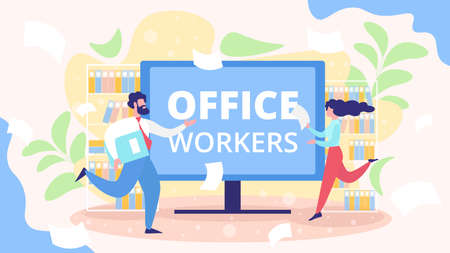 Busy Office Workers, Hurrying Company Employees, Active Businesspeople, Project Deadline, Business Time Management Flat Vector Concept. Running Female, Male Entrepreneurs with Documents Illustration
