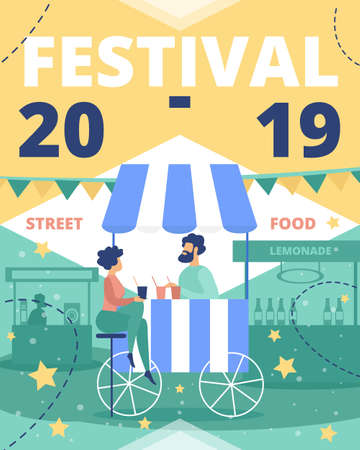 Festival of Street Food Flat Vector Advertising Banner, Promo Poster or Flyer Template. Woman Sitting on Bar Stool, Client Buying and Drink Cocktail, Seller Selling Drinks in Street Cafe Illustration