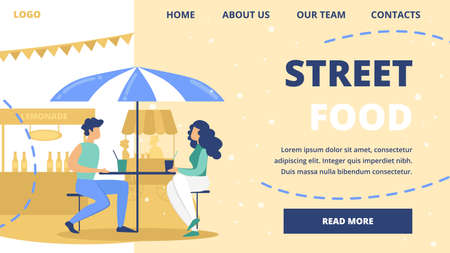 Street Food Festival, Outdoor Cafe or Restaurant Flat Vector Web Banner or Landing Page Template. Couple on Date, Male, Female Friends or Work Colleagues Drinking Lemonade at Cafe Table Illustration