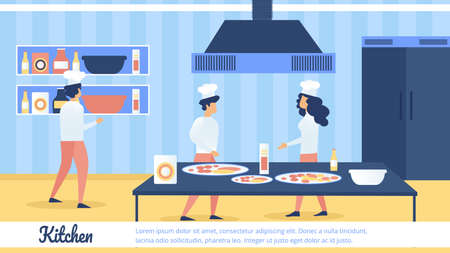 Restaurant, Cafeteria or Pizzeria Flat Vector Advertising Banner or Poster Template with Chef, Cook Assistants in Uniform, Preparing Food Ingredients, Cooking Pizza on Roomy Kitchen Illustration Çizim