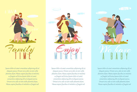 Set of Banners Family Time, Enjoy Moment, We Have a Baby. Cheerful Parents and Kids Gesturing and Smiling. Happy People with Children Spare Time and Outdoor Vacation Cartoon Flat Vector Illustration