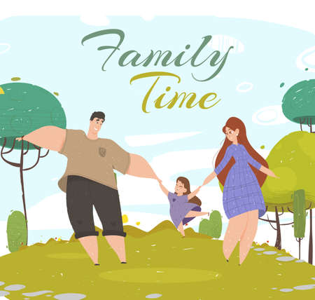Family Time Banner. Young Woman Man and Little Girl Walking in Public City Park at Sunny Day. Mother, Father and Daughter Holding Hands Happy Together. Love, Relations Cartoon Flat Vector Illustration Ilustração