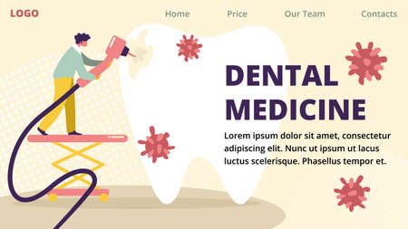 Dental Medicine Horizontal Advertising Banner. Dentist Character Drilling Huge White Tooth with Caries Hole and Microbes. Professional Clinic Doctor Stomatology Work. Cartoon Flat Vector Illustration