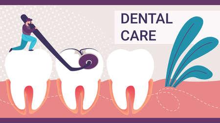 Dental Care Horizontal Banner. Tiny Man Dentist Holding Dentistry Mirror Watching Big Bad Tooth in Cavity. Stomatology Clinic Professional Service, Treatment Procedure Cartoon Flat Vector Illustration 向量圖像
