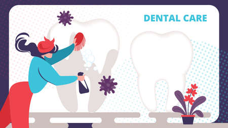 Woman in Housewife Dress Work Cleaning Tooth with Foamy Brush and Water Sprayer. Dentist Clean and Whitening Teeth. Checkup, Recovery, Dental Care Cartoon Flat Vector Illustration, Horizontal Banner Illustration