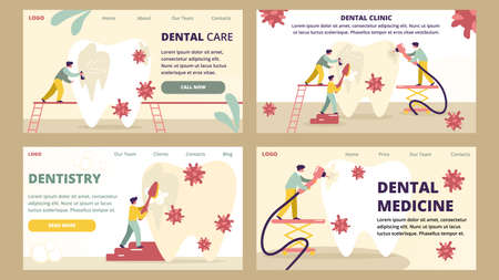 Dentistry and Dental Clinic Medicine Care Horizontal Banners Set. Dentists with Medical Equipment and Stomatology Instrument Tool Professional Treatment Tooth Checkup Cartoon Flat Vector Illustration Çizim