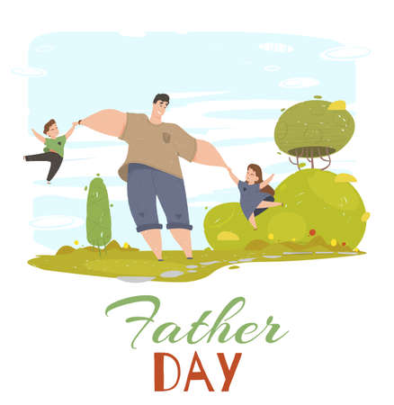 Father Day Greeting Card. Dad, Daughter and Son Playing in Public City Park. People Having Fun on Green Field. Friendly Happy Family on Summer Vacation Leisure Cartoon Flat Vector Illustration, Banner