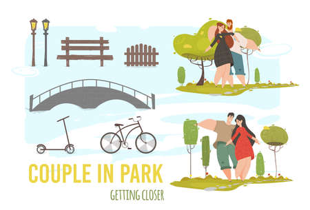 Creative Set Loving Couple Walking in City Park. Cut Out Elements and Characters for Creating Design Composition. People Playing Outdoors. Bridge, Scooter, Bicycle. Cartoon Flat Vector Illustration