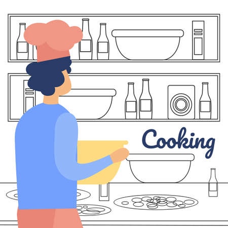 Cocking on Kitchen Flat Vector Concept with Restaurant Chef, Man in Toque Blanche Hat, Cooking Pizza, Preparing Ingredients for Dish, Kneading Dough, Putting Bowl on Table or Shelf Illustration