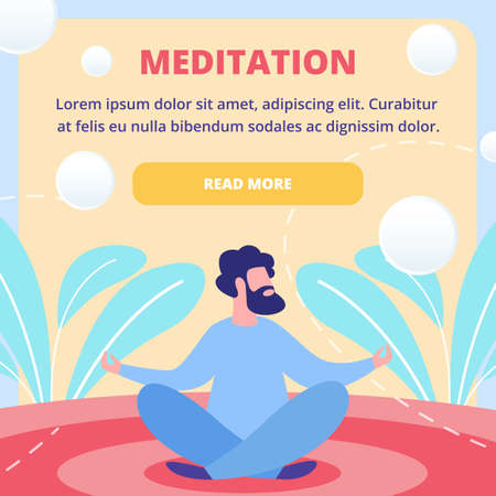 Meditation Techniques Courses, Eastern Spiritual Practices School, Mental Health Service Flat Vector Square Web Banner or Landing Page Template with Bearded Man Sitting in Lotus Pose Illustration