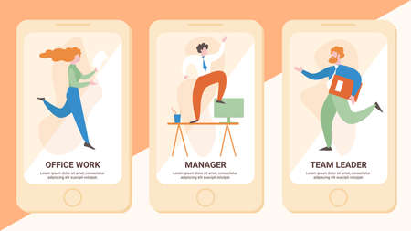 Office Work, Manager, Team Leader Flat Vector Web Banner, Landing Pages for Mobile Phone Application. Female, Male Employees Hurrying with Documents, Stressed Businessman Standing on Desk Illustration
