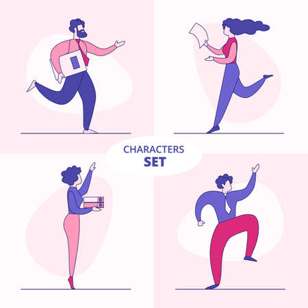 Businesspeople, Female and Male Entrepreneurs, Company Employees Flat Vector Characters Set with Hurrying in Business, Busy Businessman and Businesswoman, Nervous Office Worker, Secretary Illustration
