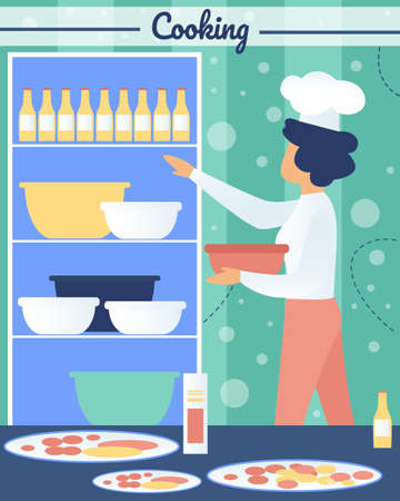 Cocking and Baking Pizza in Pizzeria Flat Vector Concept with Restaurant Female Chef, Woman in White Toque Blanche Hat, Preparing Food, Kneading Dough, Taking Dish Ingredients from Shelf Illustration Çizim