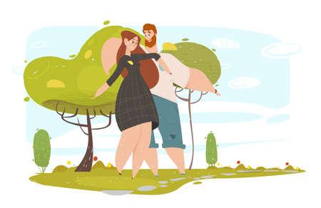 Amorosa pareja caminando en el parque de la ciudad en un clima soleado de verano, jóvenes jugando al aire libre, corriendo y saltando. Ocio, tiempo libre, amor, relaciones felices, ilustración de Vector plano de dibujos animados al aire libre