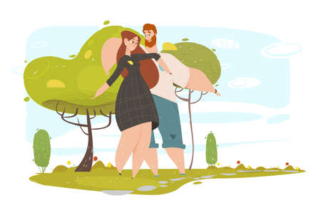 Loving Couple Walking in City Park in Sunny Summer Weather, Young People Playing Outdoors, Running and Jumping. Leisure, Sparetime, Love, Happy Relations, Outdoors Cartoon Flat Vector Illustration