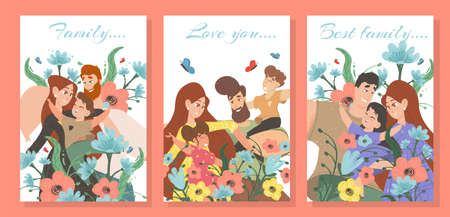 Set Happy Family Cards with Typography. Parents and Kids among Beautiful Colorful Flowers with Flying Butterflies. Mother, Father, Daughter and Son Portrait Cartoon Flat Vector Illustration, Banner
