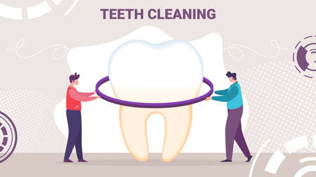Effective Teeth Cleaning, Whitening Toothpaste, Oral Hygiene Product Vector Ad Banner, Promo Poster Template. People Cleaning, Bleaching Tooth, Repairing Enamel, Removing Dental Plaque Illustration