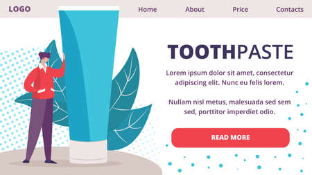 Healing, Whitening Toothpaste, Oral Hygiene New, Innovative Product Trendy Flat Vector Vector Horizontal Web Banner, Landing Page Template with Male Customer, Man Leaning on Paste Tube Illustration Çizim