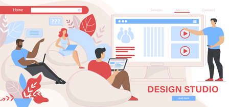Design Studio Working Process. Group of People Designers Sitting with Laptops at Huge PC Screen. Tutor or Company Leader Explaining Information. Cartoon Flat Vector Illustration, Horizontal Banner