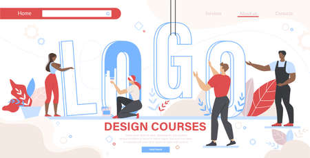 Design Courses Horizontal Banner. Group of People Set Up Huge Word Logo and Painting Letters. Men and Women Education. Teamwork and Creative Occupation for Designers. Cartoon Flat Vector Illustration Illustration