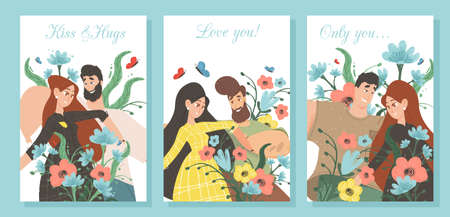 Set Creative Banners for Loving Couple. Man and Woman in Love on Colorful Background with Vibrant Flowers. Valentines Day, Summer Time Dating, Romantic Relations. Cartoon Flat Vector Illustration Иллюстрация