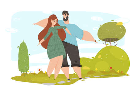Happy Loving Couple Waving Hands Walking in Park, Enjoying Summer Vacation. Love, Human Relations, Friendship. Pair Characters Spend Time on Nature, Relaxing Together Cartoon Flat Vector Illustration