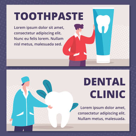 Toothpaste for Teeth Whitening or Cleaning, Modern Dental Clinic Service Flat Vector Horizontal, Advertising Banner, Promo Poster Template. Man with Toothpaste Tube, Dentist in Uniform Illustration Illusztráció