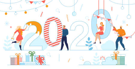 New Year Party Preparations, Winter Holidays Decoration Ideas Trendy Flat Vector Concept. Happy People Multinational Characters Painting, Decorating 2020 Numbers with Garlands for Party Illustration
