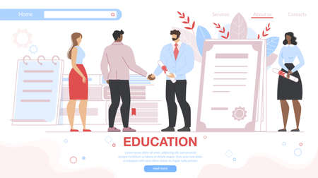 Vocational Education Specialists Graduating. Cheerful Young Man and Woman Getting Diploma Certificate from Teacher. Education, Learning, Graduation Cartoon Flat Vector Illustration, Horizontal Banner