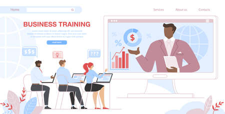 Business Training. Men and Woman Students Sitting at Desk at Computer Screen with Trainer Explaining Information in Classroom at Huge Monitor. Cartoon Flat Vector Illustration, Horizontal Banner. Çizim