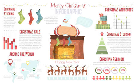 Christmas Celebration in World, Christian Religion Statistics, Holiday Sale Cartoon Vector Infographics Elements Set. Diagrams, Graphs, Reindeer, Santa Claus near Fireplace with Stockings Illustration