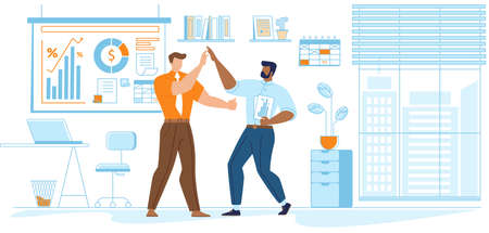Cheerful Businesspeople Laughing and Shaking with Hands at Office Workplace. Employee Characters Rejoice for New Project. Joyful Managers or Colleagues Celebrating. Cartoon Flat Vector Illustration