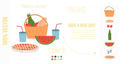 Set of Printable Elements for Picnic Poster. Composition of Basket with Food and Wine Bottle, Pie, Watermelon and Cups. Have a Nice Day Typography Cartoon Flat Vector Illustration, Craft Style, Banner