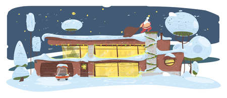 Santa Claus with Big Sack Sneaking by House Roof to Fireplace Chimney. Merry Christmas Eve, Xmas Holidays. Two-storied Building with Parked Car in Yard Winter Season Cartoon Flat Vector Illustration