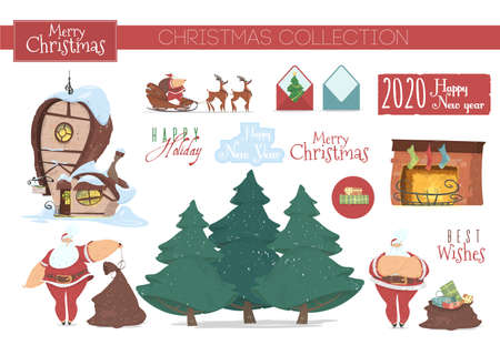 Cute Collection Icons, Stickers, Clip Art Elements for Christmas Decoration. Santa Claus with Bag, House, Fir Trees, Fireplace with Socks, Reindeer Sledge, Envelope Cartoon Flat Vector Illustration