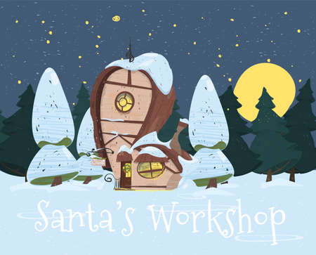 Santa Claus Workshop with Signboard, Lighting Windows and Fir Tree Festive Wreath on Door. Cute Fantasy Building With Weather Vane on Roof at Snowy Background. Cartoon Flat Vector Illustration, Banner