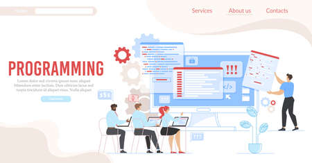Programming and Coding Service Flat Landing Page. Cartoon People Office Workers Programmers Group Working on Laptop Developing Computer Languages. Technology and Network. Vector Illustration