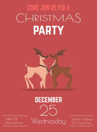 Christmas Celebration Entertainment Party or Winter Holidays Musical Performance Cartoon Vector Advertising Flyer, Poster, Invitation Card Template with Two Reindeer on Red Background Illustration Ilustracja