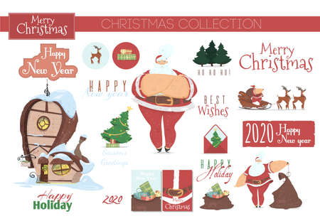 Christmas Collection for Greeting Card or Scrapbooking Design, Decorative Elements and Typography Isolated on White Background. Santa Claus Attributes, Gifts, Fir Tree Cartoon Flat Vector Illustration