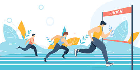 Running Marathon Competition. Athlete Sprinter Group Moving to End Race Point. Distance Jog on Stadium. Sportsmen Team. Finish Line. Win and Championship. Vector Flat Cartoon Illustration