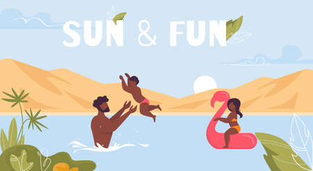 Sun and Fun Lettering. Motivation Poster. Cartoon Happy Family Rest in Water. Afro-American or Tanned Man Father Swimming with Children in Sea or Ocean. Summer Resort. Vector Flat Illustration