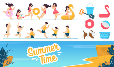Happy Children Characters and Summer Rest Set. Cartoon Girl Boy Wearing Swimming Suit in Different Poses. Kids Run, Jump, Play, Swing. Beach Game Accessories. Seacoast. Vector Lettering Illustration