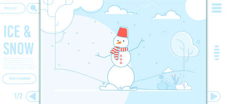 Ice and Snow Text. Flat Landing Page. Cartoon Winter Scene Design. Snowman with Red Basket as Hat on Head, In Scarf. Natural Park, Yard, Forest Covered with Snow. Snowfall. Vector Illustration