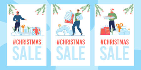 Mobile Landing Page Set with Christmas Sale Tags and Happy Cartoon Male People Characters Preparing Gifts and Presents for Relatives. Winter Holidays Discounts. Vector Flat Illustration Illusztráció