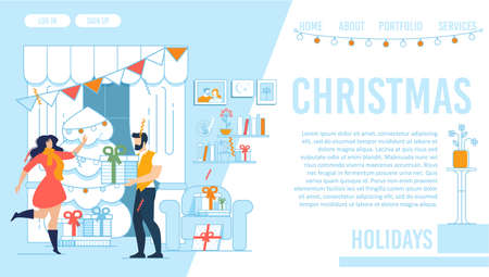 Flat Landing Page with Christmas Holidays Design. Cartoon Young Family, Married Man and Woman Celebrating Party at Home. Living Room interior with Decoration and Xmas Fir. Vector Illustration
