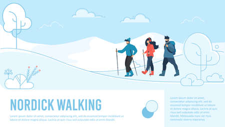 Nordic Walking. Cartoon Friends Trekking among Snowy Hills. Men and Woman in Warm Clothing. Winter Tourism on Holidays Vacation. Active Lifestyle. Advertising Flat Poster. Vector Illustration