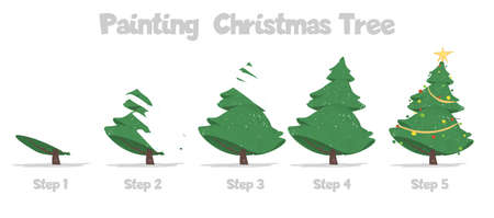Christmas Tree Painting Steps Isolated on White Background. How to Paint Decorated Fir Tree Step-by-Step Guide for Developing Children Skills for Drawing. Cartoon Flat Vector Illustration, Banner